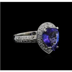 2.60 ctw Tanzanite and Diamond Ring - 14KT White Gold