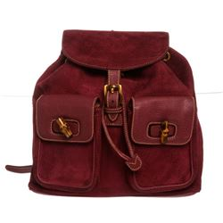 Gucci Purple Suede Leather Trim Drawstring Bamboo Backpack