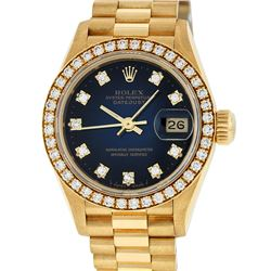 Rolex Ladies Quickset 18K Yellow Gold Blue Vignette And Diamond Datejust Wristwa
