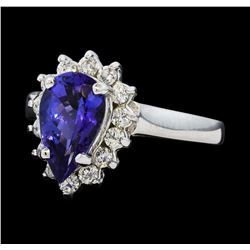2.07 ctw Tanzanite and Diamond Ring - 14KT White Gold