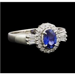0.53 ctw Sapphire and Diamond Ring - Platinum