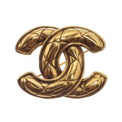 Chanel Gold Quilted CC Logo Brooch