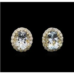 8.05 ctw Aquamarine and Diamond Earrings - 14KT Yellow Gold
