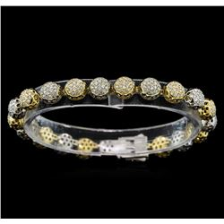 3.35 ctw Diamond Bracelet - 14KT White and Yellow Gold
