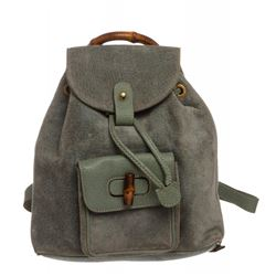 Gucci Blue Green Suede Mini Backpack