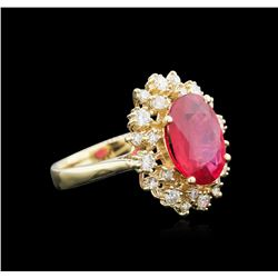 3.82 ctw Ruby and Diamond Ring - 14KT Yellow Gold