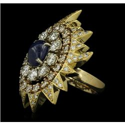 18KT and 14KT Yellow Gold 3.20 ctw Sapphire and Diamond Ring