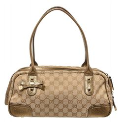 Gucci Gold Beige Monogram Metallic Leather Bowling Bag