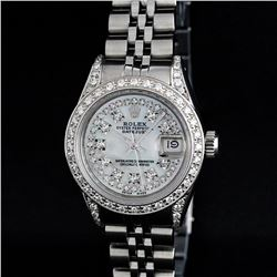 Rolex Stainless Steel Mother Of Pearl String Diamond VVS DateJust Watch