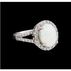 2.03 ctw Opal and Diamond Ring - 14KT White Gold