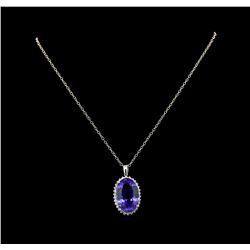 GIA Cert 30.28 ctw Tanzanite and Diamond Pendant With Chain - 14KT White Gold