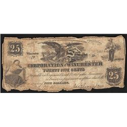 1861 Twenty Five Cents Corporation of Winchester Obsolete Note