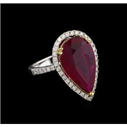 14KT White Gold 7.24 ctw Ruby and Diamond Ring
