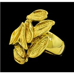 Cluster Style Oval Shape Ring - Gold Plated