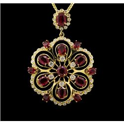 14KT Yellow Gold 9.82 ctw Ruby and Diamond Pendant With Chain