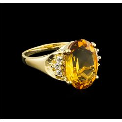 4.72 ctw Citrine and Diamond Ring - 14KT Yellow Gold