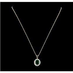 3.77 ctw Emerald and Diamond Pendant With Chain - 14KT Yellow Gold