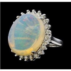 14.12 ctw Opal and Diamond Ring - 14KT White Gold