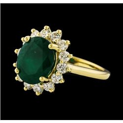3.45 ctw Emerald and Diamond Ring - 14KT Yellow Gold