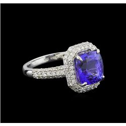 3.65 ctw Tanzanite and Diamond Ring - 14KT White Gold