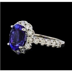 3.38 ctw Tanzanite and Diamond Ring - 14KT White Gold