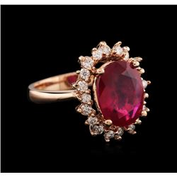 14KT Rose Gold 5.17 ctw Ruby and Diamond Ring