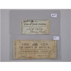 2x USA Fractional Notes County of Augusto 25 Cent, State of North Carolina 50 Cent. (CE)