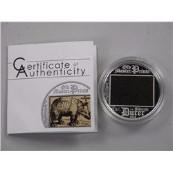 'Rhinoceros' Old Master Prints 5 Dollars 2013 - .925 Silver Coins L.E./2500.