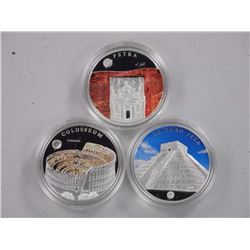 3x Wonders of The World .925 Silver Coins w/Colours '500 Terper'