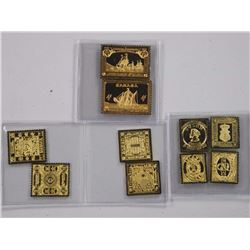 10x 24kt/Over .925 Sterling Silver Canada Postage Stamps.