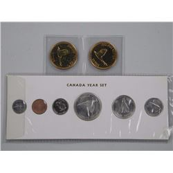 Lot 1967 Silver Mint Coin Set and 2x1967 GP Silver Dollars.