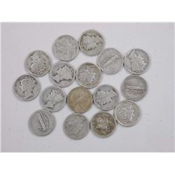 16x Silver Liberty 10 Cent 1900's.