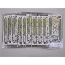 10x Bank of Canada 1973 UNC $1.00 Notes.