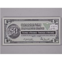 1972 Canadian Tire 5 Cent Note. (AU) (OE)