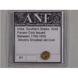 Southern States, Gold Fanam Coin Issued Between 1700's - 1830, Worlds Smallest Gold Coins.