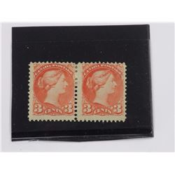 1888 Mint Pair Canada 3 Cent Stamps, 'Rose Carmine' (1xVG) (1xF) Scotts $450.00.