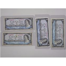 4x Bank of Canada1954 - 5 Dollars M.P.