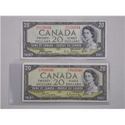 2x Bank of Canada 1954 - $20.00 M.P. and Devil's Face.
