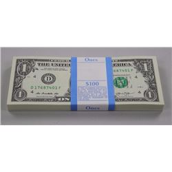 100x USA Federal Reserve $1.00 Notes Unopened Bank Band - Blg #4 - Sequential.