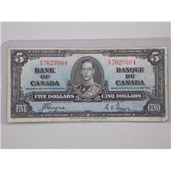 1937 Bank of Canada $5.00 E/S CT.