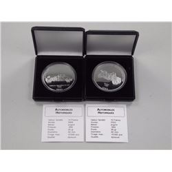 2x .9999 Fine Silver Historical Vehicles Cars, 2002 and 2003, 10 FRANCS w/C.O.A.