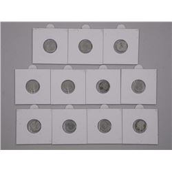 11x Canada Silver Five Cents 1800's - 1900's.