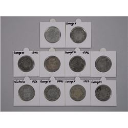 10x Canada Silver 50 Cents King George.