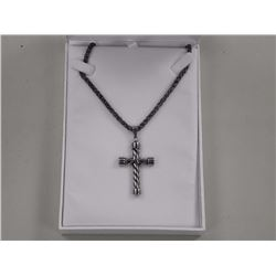 Gents 18/10 Stainless Steel Cross Pendant and Chain.