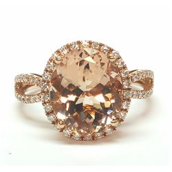 14KT Rose Gold 4.00ct Morganite and Diamond Ring