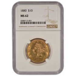 1880 $10 Liberty Head Eagle Gold Coin NGC MS62
