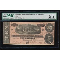 1864 $10 Confederate States of American Note PMG 55