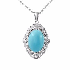 14KT White Gold 4.99ct Turquoise and Diamond Pendant with Chain