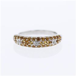 14KT White Gold 0.79ctw Citrine and Diamond Ring