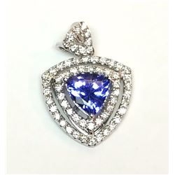 14KT White Gold 0.87ct Tanzanite Pendant
